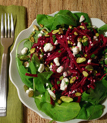 Arugula Beet Salad with Orange, Goat Cheese, and Pistachios